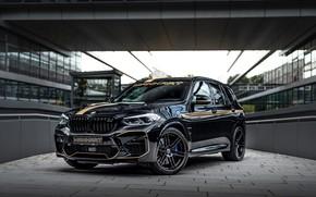 Картинка машина, тюнинг, здание, BMW, black, спереди, tuning, Manhart, BMW X3, чёрная машина, колсёса, Manhart MH3 …
