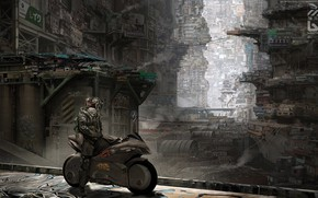 Картинка Город, Будущее, City, Fantasy, Фантастика, Bike, Concept Art, Characters, Vehicles, Байкер, Cyber, Architecture, Cyberpunk, Transport, …
