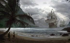 Картинка корабли, бухта, пираты, Pirates, Adrian Marc