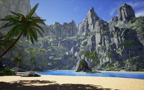 Картинка пальмы, скалы, лагуна, островок, Tropical island