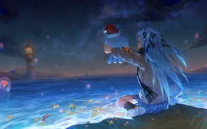 Картинка пляж, ночь, фэнтези, медузы, Виртуальный Ютубер, Virtual YouTuber