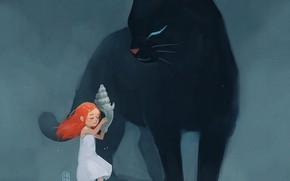 Картинка кошка, ракушка, девочка