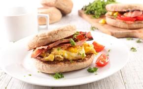 Картинка еда, завтрак, сыр, хлеб, бутерброд, овощи, помидоры-черри