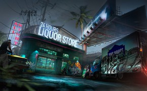 Картинка Ночь, Art, Магазин, Район, Concept Art, Environments, 24 Часа, Liquor store, Ghetto, by Geoffrey Soudant, …