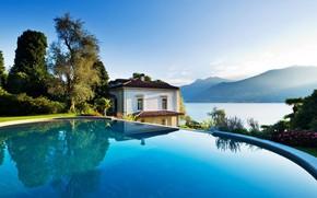Картинка горы, озеро, вилла, бассейн, Италия, Комо, Villa Giuseppina