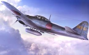 Картинка art, airplane, aviation, ww2, a6m zero