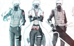 Картинка арт, белый фон, naruto, какаши хатаке