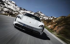 Картинка скорость, Porsche, вид спереди, Turbo S, 2020, Taycan