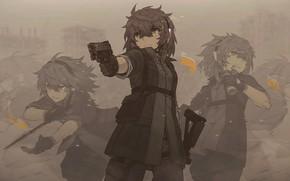 Картинка девушка, пистолет, арт, Zhao-P, by Zhao-P