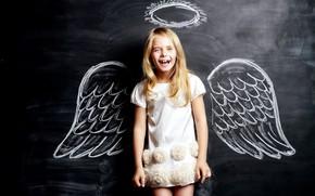Картинка крылья, ангел, девочка, нимб