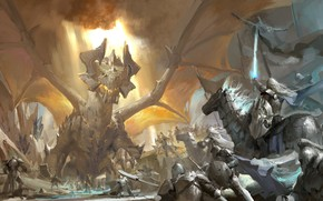 Картинка меч, доспехи, всадник, битва, сражение, рыцари, крылатый, знамя, светящийся, огнедышащий дракон, Dragon quest