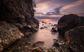 Картинка море, камни, скалы, зарево