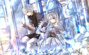 Картинка Цветы, Девушка, Бабочки, Парень, Fate / Grand Order