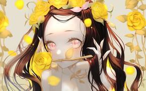 Картинка девушка, розы, Nezuko Kamado, Kimetsu no Yaiba
