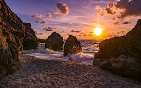 Картинка море, небо, солнце, облака, закат, природа, камни, скалы, берег