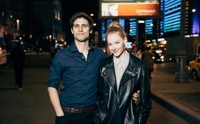 Картинка девушка, ночь, улыбка, улица, объятия, куртка, мужчина, влюбленные, Светлана Ходченкова