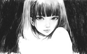 Картинка лицо, черно - белый, челка, портрет девушки, рисунок карандашом, by Wataboku