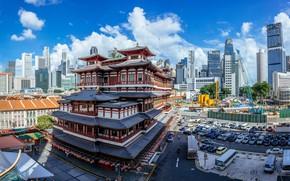 Картинка город, здание, Сингапур, Singapore, японские мотивы