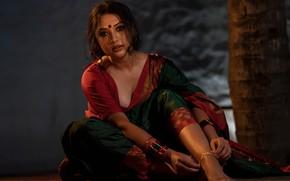 Картинка model, indian, actress, bollywood, makeup, saree, sari, traditional, Akshatha sreedhar