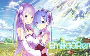 Картинка девушки, аниме, арт, Рэм, Эмилия, Re: Zero kara Hajimeru Isekai Seikatsu, С нуля