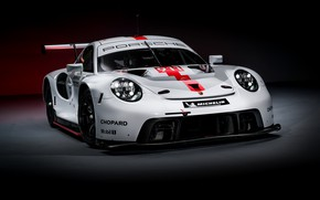 Картинка фон, купе, 911, Porsche, тёмный, RSR, 2019