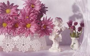 Картинка цветы, ваза, статуэтка, розовые, хризантемы