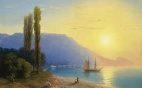 Картинка море, пейзаж, горы, корабль, картина, парус, 1861, Иван Айвазовский, Восход Солнца у Берегов Ялты