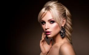 Картинка девушка, портрет, макияж, прическа, блондинка, girl, woman, hair, фотомодель, makeup, Korabkova