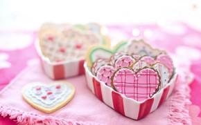 Картинка коробка, сердца, печенье, день святого валентина