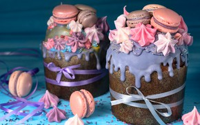 Картинка праздник, весна, печенье, Пасха, крем, десерт, кулич, выпечка, сладкое, зефир, оформление, куличи