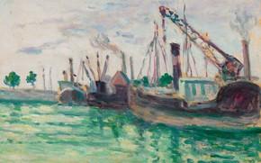 Картинка картина, порт, 1933, Онфлёр, Максимильен Люс, Maximilien Luce