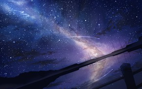Картинка ночь, звезда, водоем