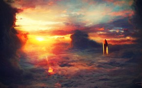 Картинка Закат, Небо, Облака, Рисунок, Ракета, Clouds, Арт, Art, Летит, Шатл, Dmitry Bogolyubov, by Dmitry Bogolyubov