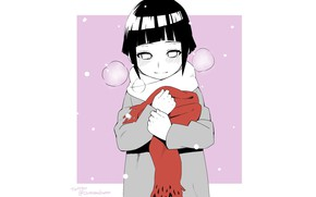 Картинка минимализм, девочка, белый фон, Наруто, Naruto, Хината Хьюга, шапф