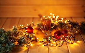 Картинка стол, шары, игрушки, рождество, кружка, напиток, Гирлянда