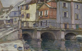 Картинка картина, городской пейзаж, Paul Madeline, Пол Медлин, Старый Порт в Кольмаре