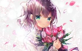 Картинка девушка, цветы, портрет, букет, тюльпаны