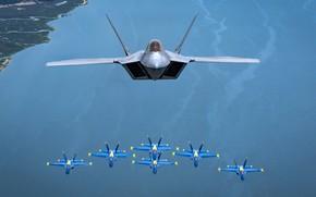 Картинка Голубые Ангелы, Blue Angels, Lockheed/Boeing F-22 Raptor, авиационная группа высшего пилотажа, многоцелевой истребитель пятого поколения