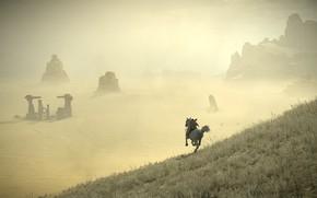 Картинка скалы, пустыня, всадник, руины, Shadow of the Colossus, В тени колосса