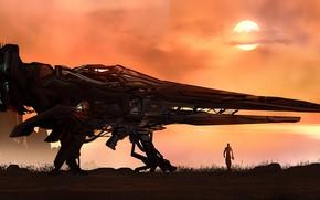 Картинка fantasy, science fiction, sun, man, sci-fi, digital art, artwork, fantasy art, Spaceship, illustration, futuristic, astronaut
