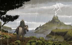 Картинка Лошадь, Рисунок, Человек, Молния, Дождь, Конь, Холмы, Пейзаж, Illustration, Concept Art, Environments, Встадник, Lorenzo Lanfranconi, …