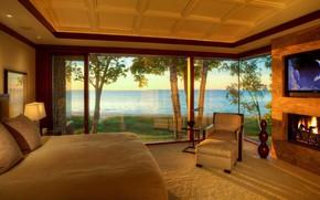 Картинка интерьер, камин, спальня, residence, Northern Michigan, lake view