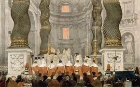 Картинка 1832, Jean Auguste Dominique Ingres, Папская месса, в соборе святого Петра в Риме