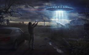 Картинка поле, девушка, машины, НЛО, ферма, летающая тарелка