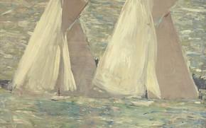Картинка море, картина, парус, 1898, Поль Сезар Эллё, Paul Cesar Helleu, Регата в Коузе