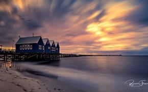 Картинка море, пляж, небо, закат, птицы, побережье, горизонт, пирс, домики, Australia, Busselton, Bruce Fraser
