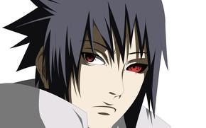 Картинка взгляд, парень, Наруто, Naruto, Саске Учиха