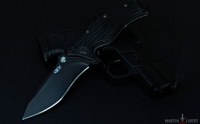 Картинка темный фон, пистолет, нож, складной нож, черный нож, Zero Tolerance, черный пистолет, Walther Compact PPS