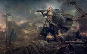 Картинка девушка, эльф, руины, эльфийка