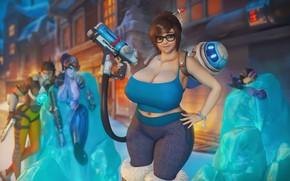 Картинка грудь, девушка, тело, сиськи, blizzard, Mei, Overwatch, Mei-Ling Zhou